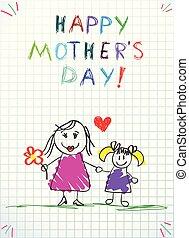 ołówek, miłość, barwny, rysunki, mamusia, ty, dzieci