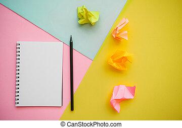 ołówek, notatnik, czysty