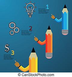 ołówek, nowoczesny, szablon