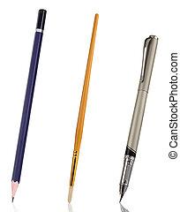 ołówek, pióro i, szczotka, odizolowany, na białym