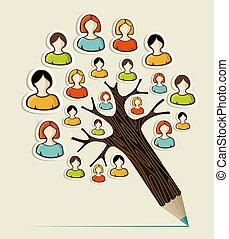 ołówek, pojęcie, rozmaitość, drzewo, ludzie