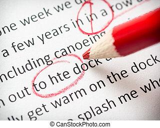 ołówek, przeprowadzanie korekty, czerwony