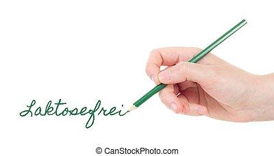 ołówek, ręka, zielony, pisanie, kaukaski, laktosefrei