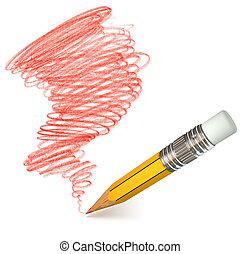 ołówek, shading., hand-drawn., doodle