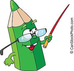 ołówek, szkoła, zielony