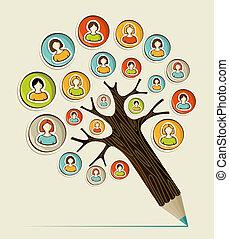 ołówek, towarzyski, rozmaitość, drzewo, ludzie