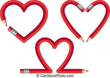 ołówek, wektor, komplet, czerwony, serca