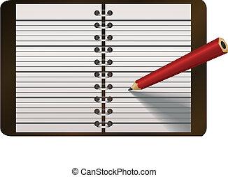 ołówek, wektor, pamiętnik, ilustracja, pisanie