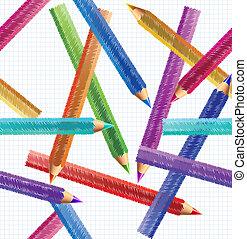 ołówek, wektor, pattern., seamless, ilustracja