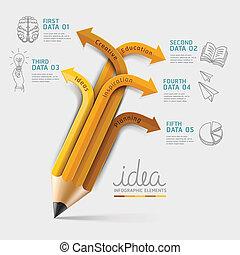 ołówek, wykształcenie, infographics, step.