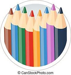 ołówki, barwa, komplet, rysunek