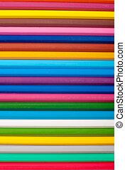 ołówki, biały, barwne tło