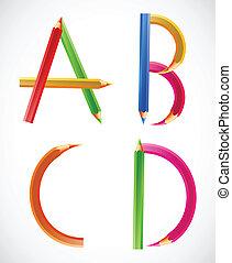ołówki, d)., (a, barwny, c, b, alfabet, wektor