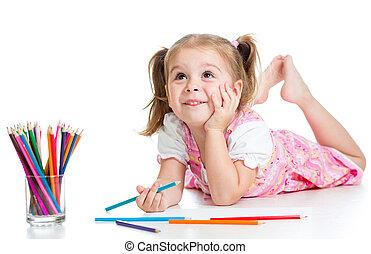 ołówki, dziewczyna, marzycielski, dziecko