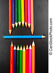 ołówki, fotografia, jakiś, usta, konceptualny, reprezentujący