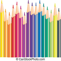 ołówki, kolor, ilustracja, wektor
