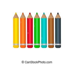 ołówki, komplet, barwny, ilustracja, tło., wektor, biały