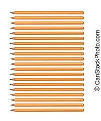 ołówki, komplet, hardness., wizerunek, żółty, tło., wektor, różny, biały