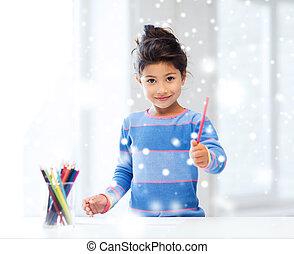 ołówki, mała dziewczyna, dom, uśmiechanie się, rysunek