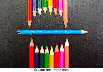 ołówki, potwór, fotografia, usta, konceptualny, reprezentujący