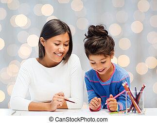 ołówki, szczęśliwy, córka, rysunek, macierz