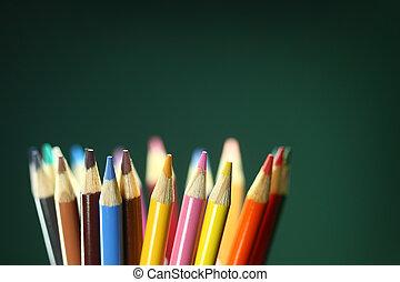 ołówki, szkoła, barwny, pole, głębokość, ekstremum