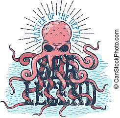 ośmiornica, głębokości, pan, morze, lettering., legenda