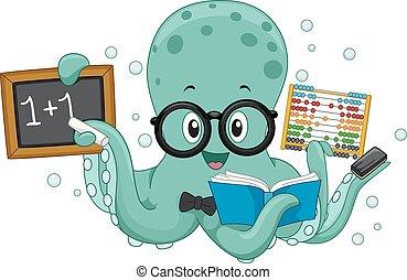 ośmiornica, nauczyciel, ilustracja, matematyka