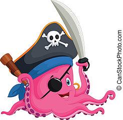 ośmiornica, rysunek, pirat