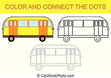 oświatowy, gra, dla, children., kolor, i, zjednajcie wielokropek, żeby stworzyć, bus.