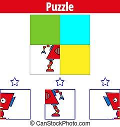 oświatowy, illustration., game., zagadka, robot, wzrokowy, wektor, gra, preschool, worksheet, children., kids.