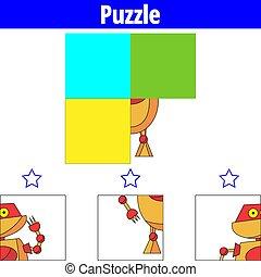 oświatowy, illustration., worksheet, zagadka, wzrokowy, robot, gra, wektor, preschool, children., kids.