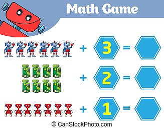 oświatowy, worksheet, robot, ilustracja, gra, wektor, odejmowanie, nauka, children., matematyka, activity., odliczający, dzieciaki