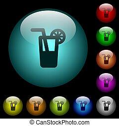 oświetlany, ikony, kolor, longdrink, pikolak, szkło