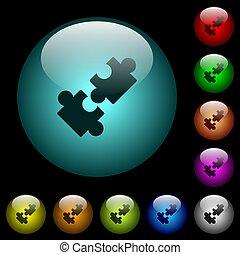 oświetlany, ikony, kolor, pikolak, szkło, kooperacja