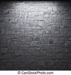 oświetlany, kamień ściana
