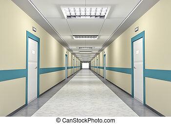 oświetlany, korytarz, w szpitalu