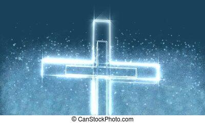 oświetlany, krzyż