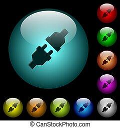 oświetlany, moc, ikony, kolor, pikolak, szkło, łączniki, unplugged