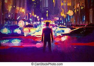 oświetlany, ulica, w nocy