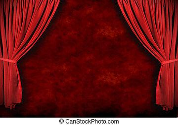 oświetlenie, dramatyczny, teatr, rusztowanie, drapuje