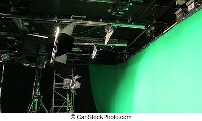 oświetlenie, ekran, komplet, zielony