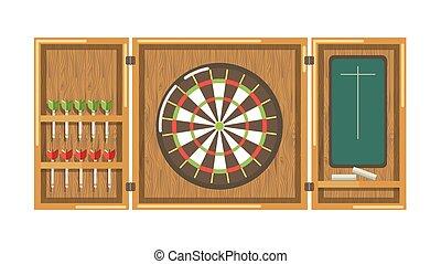 oštěpy, dřevěný, tabule, zacílit, vyrazit, mazaný, kolem, deska