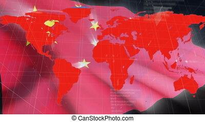 ożywienie, bandera, świat, na, mapa, chińczyk
