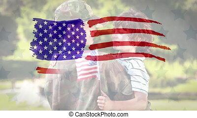 ożywienie, bandera, kaukaski, na, u.s., rysunek, dzierżawa, ...