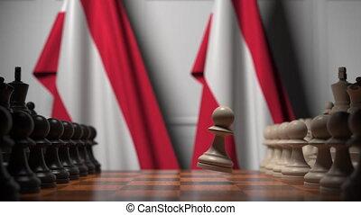 ożywienie, chessboard., albo, powinowaty, ręczy, 3d, za, polityczny, austria, bandery, szachowa gra, rywalizacja