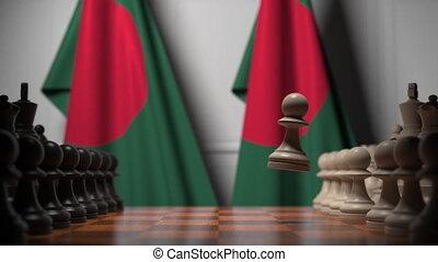 ożywienie, gra, bangladesz, polityczny, szachy, powinowaty, chessboard., rywalizacja, bandery, ręczy, za, 3d, albo