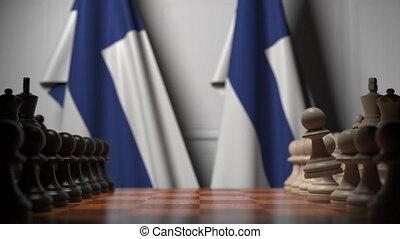 ożywienie, gra, polityczny, szachy, powinowaty, chessboard., finlandia, rywalizacja, bandery, ręczy, za, 3d, albo