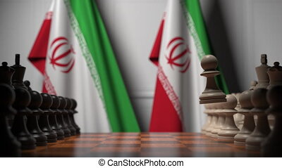 ożywienie, iran, chessboard., albo, powinowaty, ręczy, 3d, za, polityczny, bandery, szachowa gra, rywalizacja