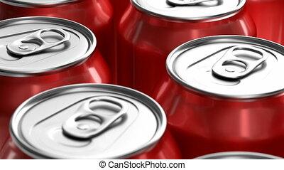 ożywienie, soda, puszki, czerwony, 3d